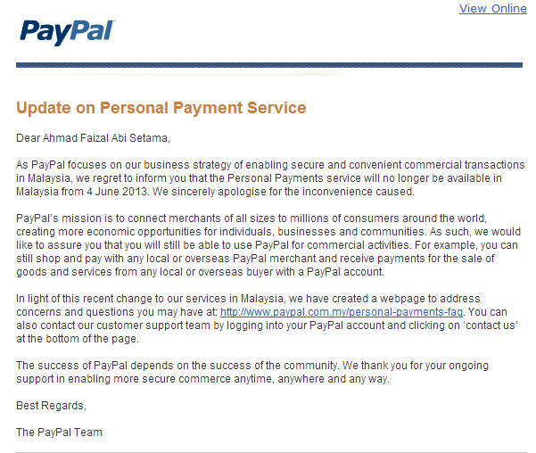 paypal personal payment gone