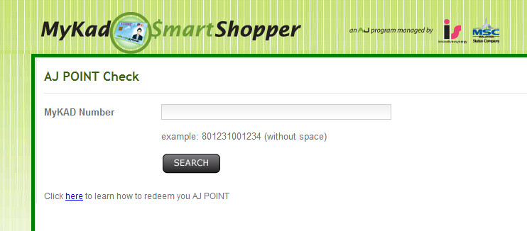 mykad smart shopper aj point check