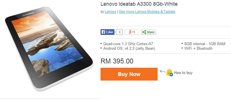 lenovo ideatab a3300 8gb white