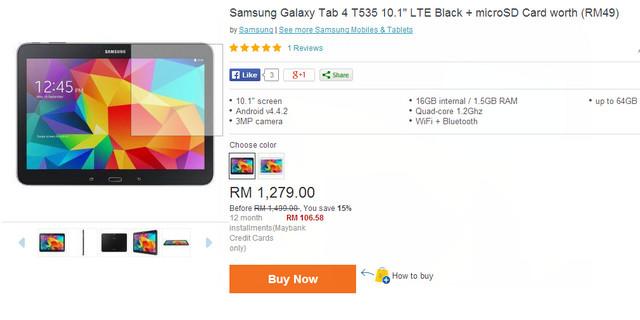 samsung galaxy tab 4 t535 black