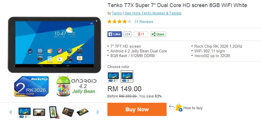 tenko t7x super dual core hd 8gb white
