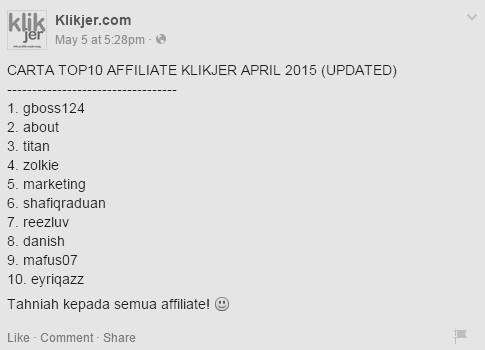 top 10 affiliate klikjer - April 2015