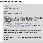 Jemputan ke Sidang Media KRU MMasterClass