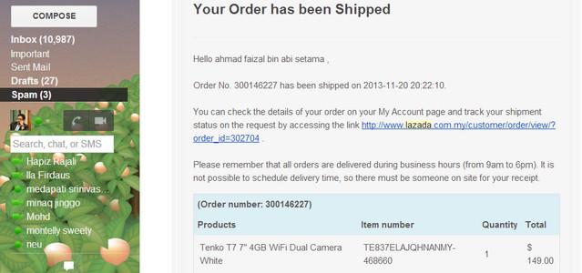 lazada order shipping