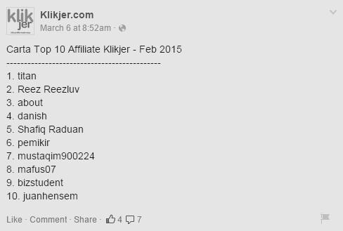 Top affiliate klikjer - februari 2015