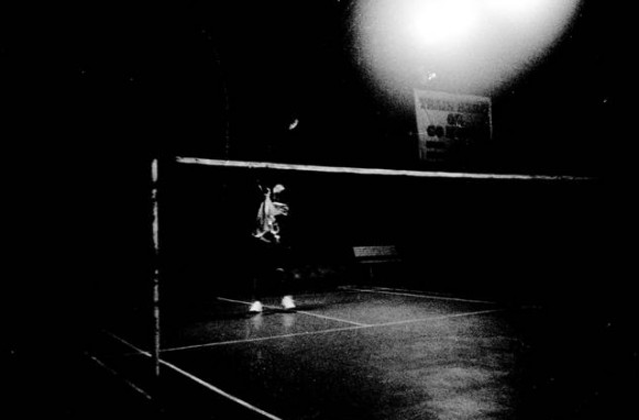 badminton in dark